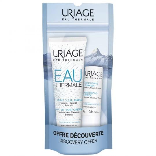 Uriage Kit Crema Acqua Mani Secche 30ml + Stick Idratante Labbra 4gr