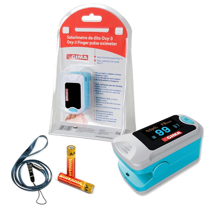 Saturimetro Da Dito Oxy-3 GIMA Ossimetro Misuratore Ossigeno Pulsossimetro