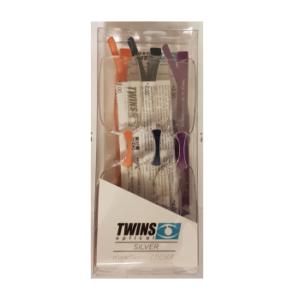 Twins Optical Silver 3 Occhiali da Lettura Modello Triple Colori Viola, Arancio e Blu +1.0